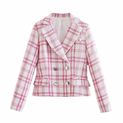 Wholesale New Double-breasted Wild Casual Plaid Texture Suit NSAM54262