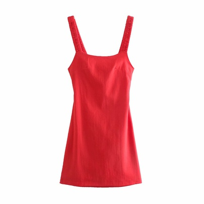 Solid Color Pleated Elastic Shoulder Straps Linen Backless Short Dress   NSAM54263