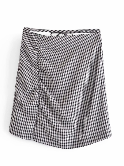 Retro High Waist Lace-up Plaid Folds Split Bag Hip Skirt NSAM54264