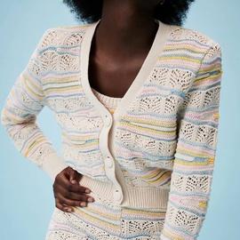 Jacquard Mesh Fabric Knitted Cardigan NSAM54266