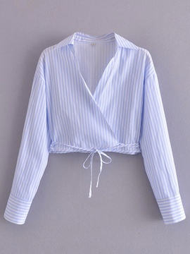 Long-sleeved Slim Bow Lace-up Double Stripe Short Shirt  NSAM54267
