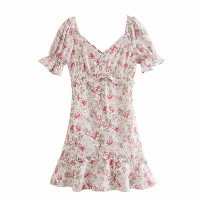 Peach Collar Short-sleeved Print Retro Holiday Dress NSAM54270
