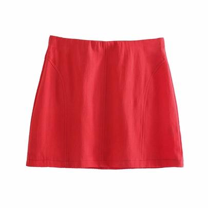 Solid Color High Waist Splicing Linen Mini Skirt  NSAM54274
