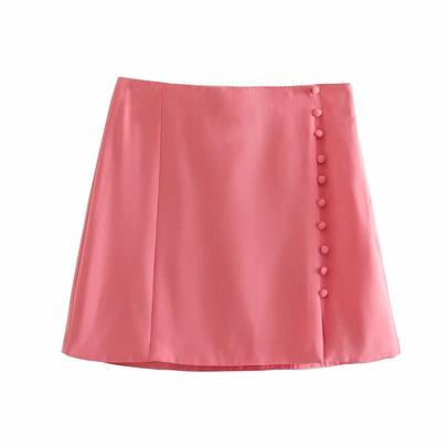 Solid Color High Waist Button Decor Split Mini Skirt  NSAM54276