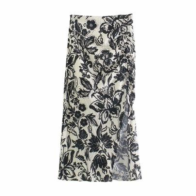 Casual Pleated Design Thin Print Split Long Skirt  NSAM54277
