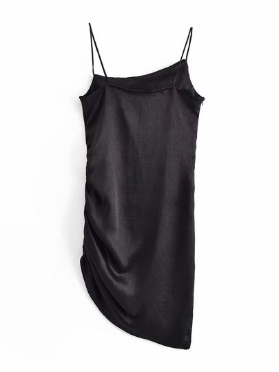 Solid Color Slim Asymmetric Hem Folds Suspender Dress  NSAM54278