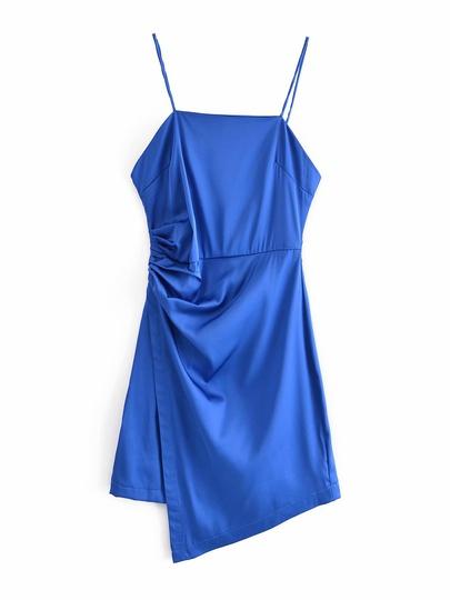 Fold Decoration Blue Slim Splicing Irregular Sling Mini Dress NSAM54280