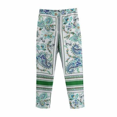 High Waist Print Drape Casual Straight Pants  NSAM54281