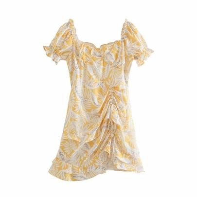 Retro Low-cut Side Drawstring Folds Short-sleeved Slim Printed Dress  NSAM54282