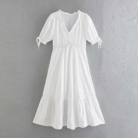 Solid Color Short-sleeved V-neck Flower Embroidery Lace Hollow Dress  NSAM54283
