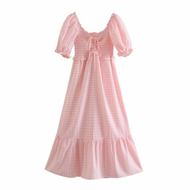 Pink Plaid Drawstring Lace-up High Waist Holiday Long Dress  NSAM54284