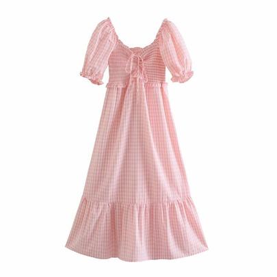 Pink Plaid Drawstring Lace-up High Waist Holiday Long Dress  NSAM54284
