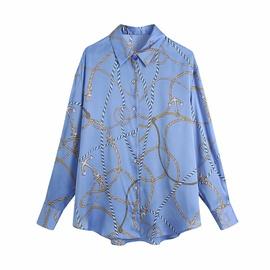 Printed Long-sleeved Lapel Single Breasted Drape Shirt  NSAM54286