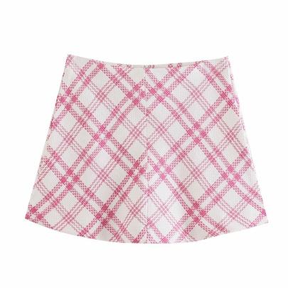 High-waist Zipper Plaid Printed Texture Mini Skirt NSAM54288