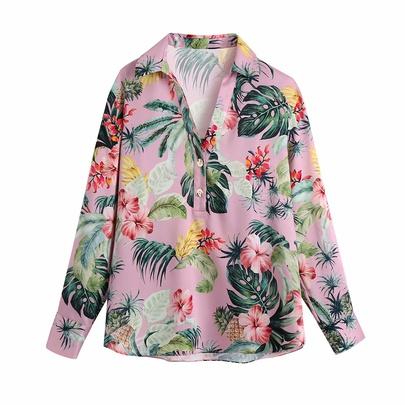 Fashion Loose Lapel Single-breasted Long-sleeved Printed Shirt NSAM54289
