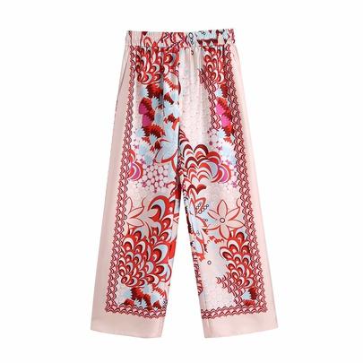 Elastic Waist Patchwork Drape Casual Straight-leg Pants NSAM54291