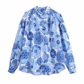 Fashion Loose Lapel Long-sleeved Splicing Printed Blouse  NSAM54292