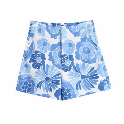 Flower Print High Waist Pockets Bermuda Shorts  NSAM54293