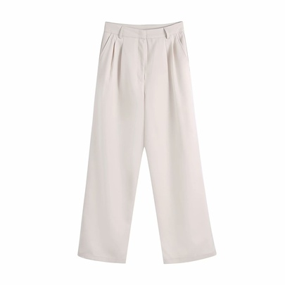 Solid Color Loose Drape High Waist Straight-leg Suit Pants  NSAM54295