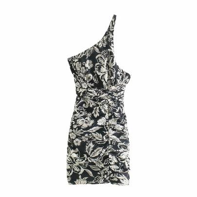 Asymmetrical One-shoulder Ethnic Style Jacquard Backless Short Dress NSAM54301