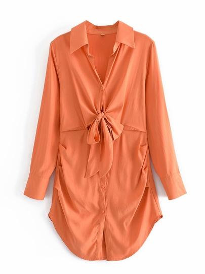Solid Color Long-sleeved Arc Hem Knotted Shirt Dress  NSAM54304