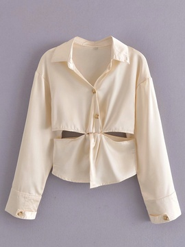 Solid Color Lapel Hollow Splicing Lace-up Long-sleeved Shirt NSAM54305