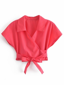 Solid Color Lapel Shor-sleeved Bow Lace-up Short Shirt  NSAM54307