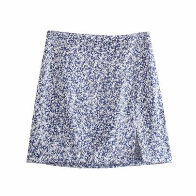 Retro High Waist Flower Print Split Mini Skirt  NSAM54308