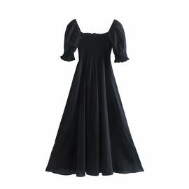 Square Neck Short-sleeved Black Big Swing Holiday Long Dress NSAM54309