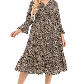 Plus Size V-neck Long-sleeved Big Swing Floral Dress NSCX54310