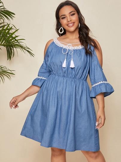 New Strapless Sling Lace Denim Dress NSCX54312
