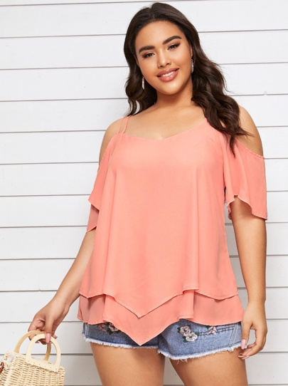 New Comfortable Plus Size Strapless Sling Irregular Shirt NSCX54313