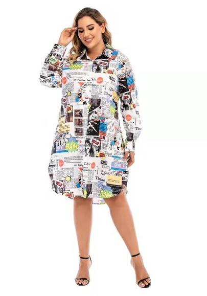 Plus Size Loose Long-sleeved Mid-length Fashion Shirt Skirt NSCX54319