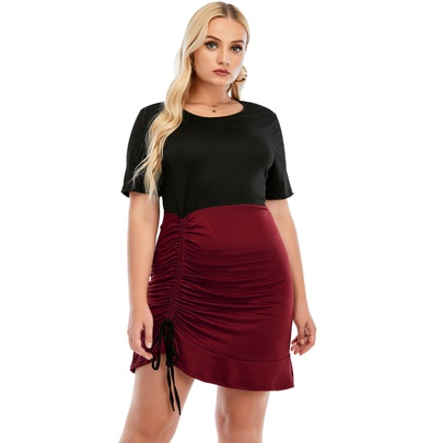 New Style Round Neck Short Sleeve High Waist Drawstring Pleated Dress NSCX54321