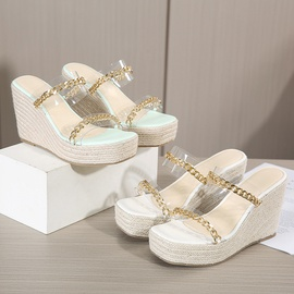 Transparent Film Metal Chain Wedge Sandals  NSSO54446