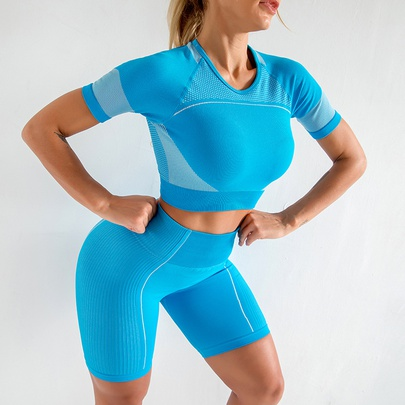 Hollow Quick-drying Breathable Short-sleeved High-elastic Fitness Top NSZJZ54494
