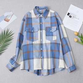 Spring Plaid Loose Blouse NSAM47585