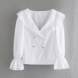 Spring White Hollow Shirt NSAM47589