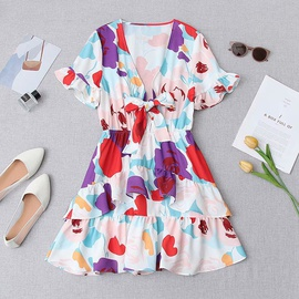 Spring Print Knot Dress NSAM47601