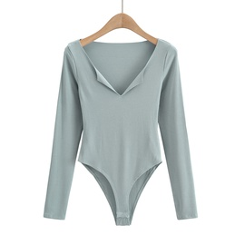 V-neck Long Sleeve Bodysuit NSAC47655