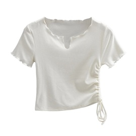 Frill Trim Side Tie T-shirt NSAC47656