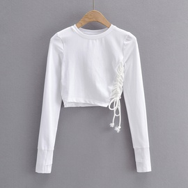 Plain Side Tied Long Sleeve Crop Top NSAC47659