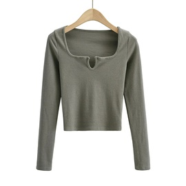 Solid Color U-neck Long Sleeve Crop Top NSAC47660