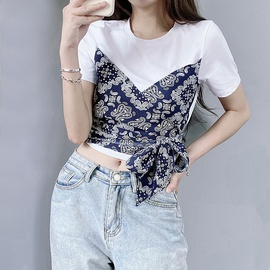 Splicing Retro Print Side Bow Tied T-shirt NSLQ47673