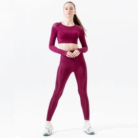 Seamless Raglan Sleeve Tee With Wideband Waist Leggings Sports Set NSOUX47901