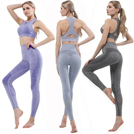 Contrast Striped Criss Cross Back Sports Bra With Leggings NSOUX47902