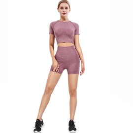 Space Dye Raglan Sleeve Seamless Sports Tee & Biker Shorts NSOUX47905