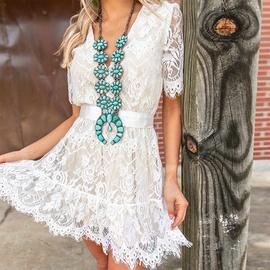 Summer Waist Lace V-neck Short-sleeved Dress NSKL47982