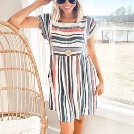 Summer Casual Loose Striped Dress NSKL47983