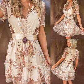 Summer Mesh Waist Short-sleeved Dress NSKL47984